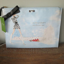 KATE SPADE PHOTO FINISH RACING CAR DRIVERS SEAT RACETRACK BELLA POUCH CLUTCH-NEW