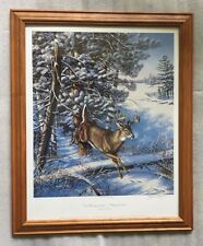 JAMES A. MEGER & HERB BROOKS hockey SIGNED & #'d WILDLIFE PRINT WHITETAIL DEER