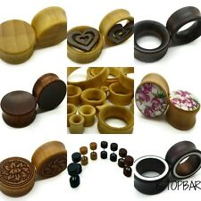 6MM-30MM ORGANIC WOOD EAR PLUG TUNNEL TAPER STRETCHER SADDLE WOODEN FLESH BAMBOO