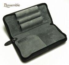 """Pilot Round Zipper Cowhide Leather Pen Case """"Pensemble"""" Black PSPC-01-B"""