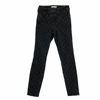 Madewell Womens size 25 Black Gold Metallic Dot High Rise Skinny Denim Jeans