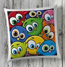 Angry Colourful Multicolour Birds Eye Cushion Covers Pillow Case Faux Suede Gift
