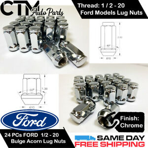 24PC FORD CHROME CONICAL SEAT 1/2-20 WHEEL LUG NUTS BULGE ACORN FOR FORD MODELS