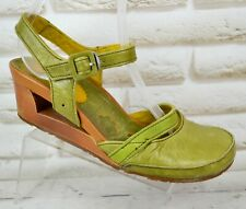 THE ART COMPANY Womens Green Leather Wedge Sandals Shoes Heels Size 7 UK 40 EU