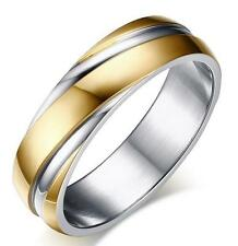 Fashion men's women's 6mm stainless steel ring wedding engagement band Size 5-13