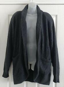 Vintage 1980s Sandra Steiner Black Angora Wool Chunky Knit Cardigan Size 14