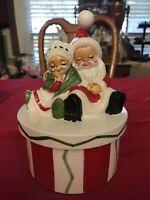 Lefton Christmas Mr & Mrs Santa Claus Covered Candy Dish Japan