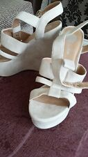 """SANDALS BY RIVER ISLAND  IN CREAM SUEDE SIZE 7 6"""" HEEL"""
