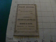 vintage  orig.  1858 pocket ledger PASS BOOK, filled to end, w WAGES CHART wow