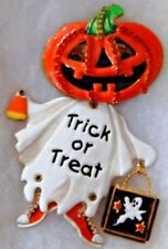 LATR Lunch At The Ritz Crystal Pin Brooch Pendant TRICK-OR-TREAT PUMPKIN GHOST