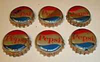 Vintage Lot (6) Pepsi Cork Lined Soda Pop Crown Bottle Caps Dubuque, Iowa Cola