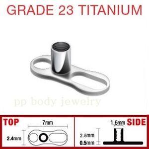 Grado 23 Titanio Massiccio 2.5mm Altezza 2-Hole 14G (1.6mm) Derma Ancora Fondo