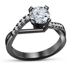 Cut Diamond Ladies Solitaire Engagement Ring 14K Black Gold Finish 2 Ct Round