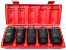 """5PC 1/2"""" DR. FRONT & BACK (METRIC) WHEEL SPINDLE AXLE NUT DEEP IMPACT SOCKET SET"""