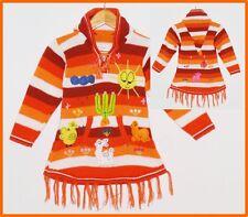 Pullover-Kleid orange-weiß,Gr. 98/ 104, XXL-Zipfelkapuze Peru Inka Kinder Jacke
