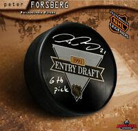 PETER FORSBERG Signed 1991 Draft Puck 6th Pick - Philadelphia Flyers