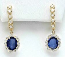 4.59 Carat Natural Sapphire 14K Solid Yellow Gold Diamond Earrings
