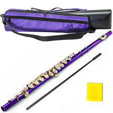 Brand New Band Approved Purple/Gold C Foot Flute With Case Bag Accessories