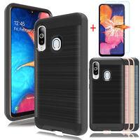 For Samsung Galaxy A20 A10e A50 A30 Dual Phone Case Cover+Glass Screen Protector