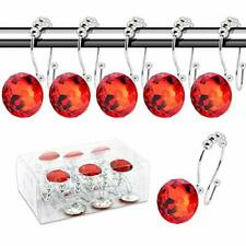 Beavo Decorative Shower Curtain Hooks,12 Pcs Double Glide Crystal hooks Red
