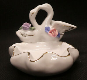 Kissing Swans with Pond and Flowers trinket//nut dish