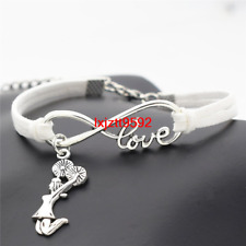Silver Infinity Love Cheerleader Cheer Charms Bracelet Bracelets Women Sl771