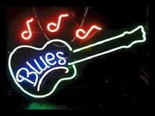 "New Blues Guitar Beer Bar Neon Light Sign 17""x14"""
