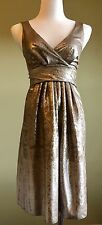 Etro Abstract Stone Gold Taupe Metallic Sleeveless Cocktail Dress Size 40 US 4