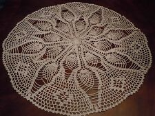 """New listing Handmade Crocheted Round White Cotton Tablecloth 26"""""""
