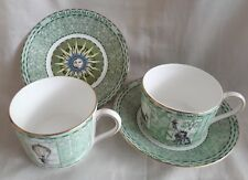 PAIR 1998 WEDGWOOD BONE CHINA MILLENIUM COLLECTION CUP & SAUCERS TABLEWARE