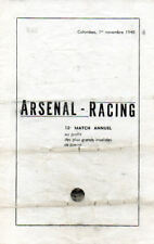 RACING PARIS v Arsenal 1/11/1948 Friendly programme + Français Sports magagzine