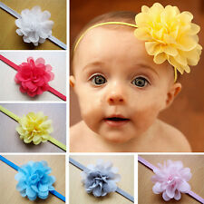 10Pcs Chiffon Flower Hair Band Headband Elastic for Baby Girl Infant Toddler AV
