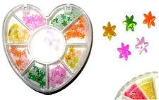 NEW NAIL ART STICKERS DECORATION METALLIC FLOWER STARS IN HEART SHAPE TUB 263 EM