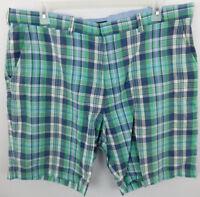 Tommy Hilfiger Men's Plaid Golf Casual Shorts sz 40 Cotton Green White Gray