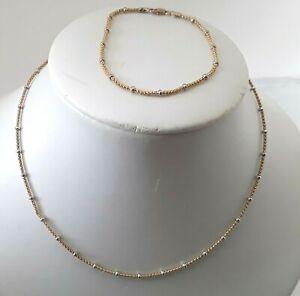 Lovely 9 Carat 2 Coloured Gold Choker Chain and Bracelet Set