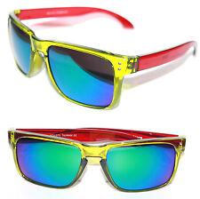 Men's Sport Flat Top Sunglasses Super Clear Green Red Frame Multi color Lenses