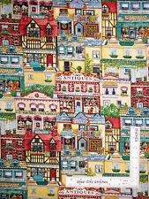Old Town Shops Stores All Over Cotton Fabric 3611 Elizabeth's Studio - Yard