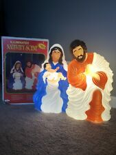2 Piece Grand Venture Blow Mold Nativity Set Mary Jesus Joseph Boxed