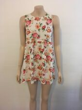 """pre-loved """"jay jays"""" white red yellow green floral sleeveless shift dress size10"""