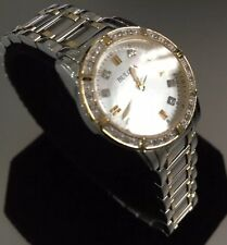 Ladies Genuine Bulova Diamond 98R107 Two Tone Gold Mop Designer Dress Date Watch