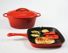 SET - 24cm 2.8L RED CAST IRON OVAL CASSEROLE DISH POT + SKILLET GRIDDLE PAN OVEN