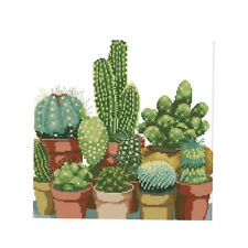 Cactuses Cross Stitch Kits Advanced Patterns for Beginners Kids 14CT 34x35cm