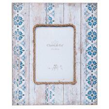 Bilderrahmen z. Aufstellen blau Kordel Shabby Vintage Stil Holz Bg: 13 x 18 cm