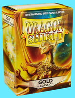 100 DRAGON SHIELD CLASSIC Standard Size GOLD Card Sleeves deck protector mtg ccg