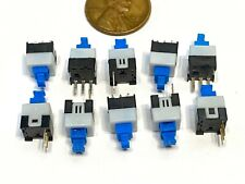 10x Push Button Latching Tactile Switch 7x7mm Blue Button 3 Pin Micro Onoff B10