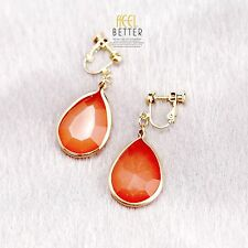 Rings`Ears CLIP ON Golden Simple Drop Orange Faceted DD10