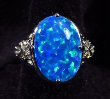 Silver 925 Filled Size 5 Ring Brilliant Blue Lab Fire Opal 15*10mm Cabochon