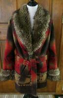TASHA POLIZZI SADDLE BLANKET AZTEC SOUTHWESTERN Coat w/ Faux Fur Trim Womens M