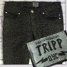 Tripp NYC 7 Black Jeans Animal Leopard Print Coated Skull Rivets Inseam 32 EUC