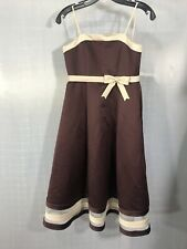 Eden Bridals Dress Princess Flower Girl Size 6 Bridesmaid Bow Brown Cream Formal